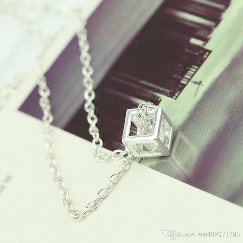 серебряный цвет куб площадь цирконий Алмаз кулон ожерелье Swarovski элементы ювелирные изделия для женщин свадебные украшения