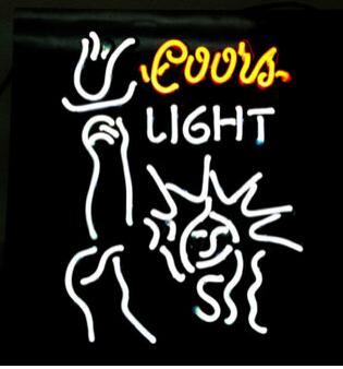 "Coors Light Liberal Statue of Liberty Neon Sign Custom Hand-crafted Real Glass Tube Pub Square Display Neon Signs 17""X14"""