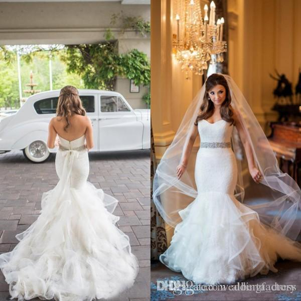 db3b56343bd24 Luxury Fitted Backless Wedding Dresses Mermaid Style Lace Top Strapless  Sweetheart Ruffled Tulle Skirt Bridal Gowns With Beaded Sash Maternity  Wedding Dress ...