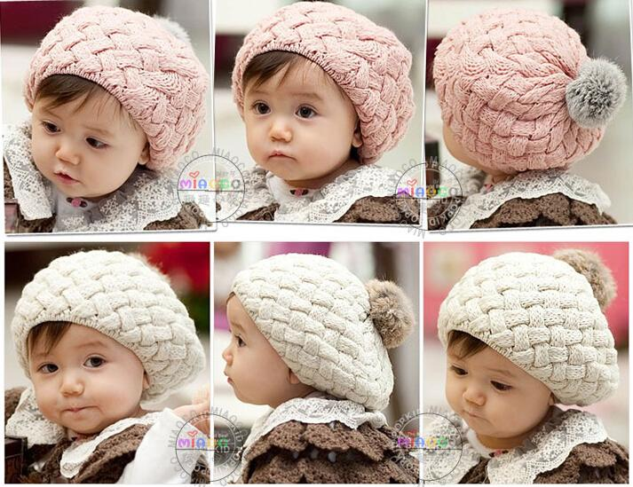 Compre Sombreros De Bebé Pom Pom Knit Sombrero Niñas Beanie Invierno ...