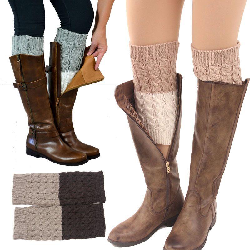 Women Leg Warmer Knit Boot Socks Topper Cuff Boots
