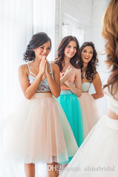 Mitity Color Mint Zielony Tutu Druhna Spódnice Sukienka Linia Długość Kolana Sheer Tulle Kobiety Sukienka 2016 Krótkie suknie ślubne