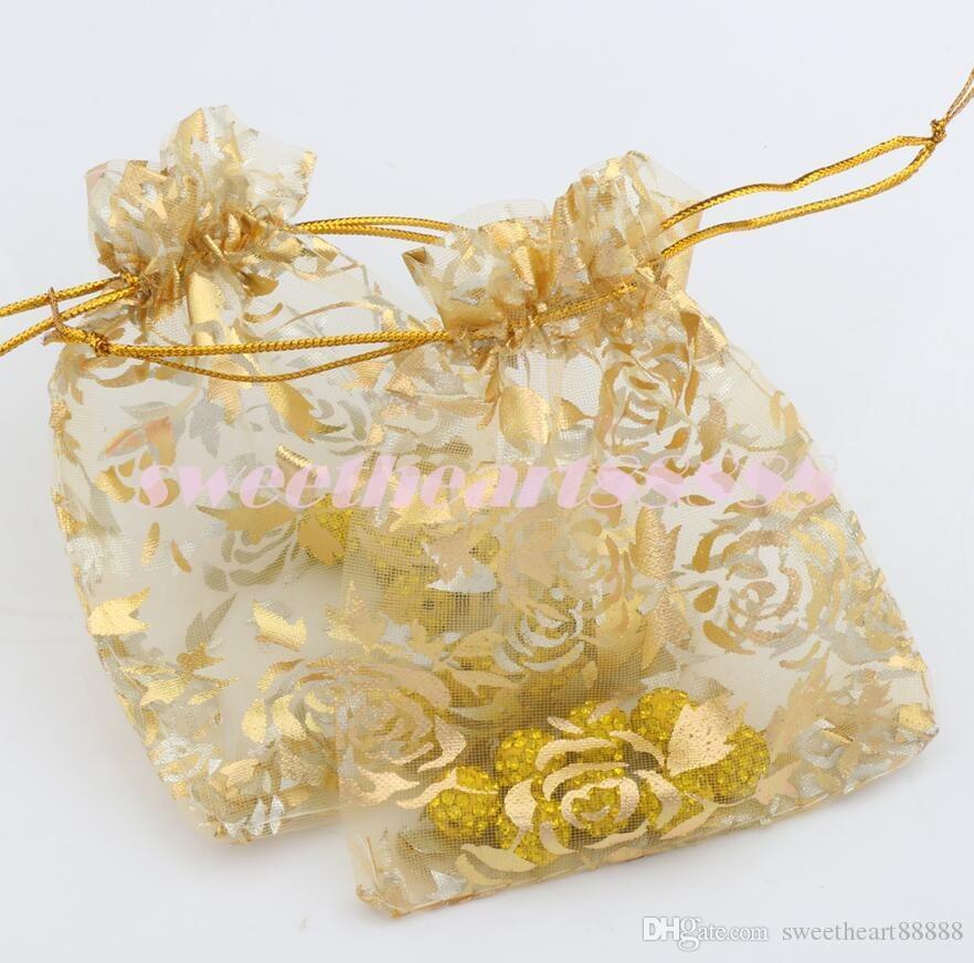2017 8 ألوان 9x12 سنتيمتر الذهب روز تصميم الأورجانزا حقائب مجوهرات هدية الحقائب كاندي حقيبة GB038 حار بيع