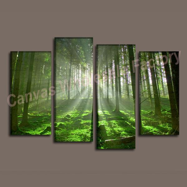 wall decor canvas 4 piece canvas art of forest painting art print wall pictures for living room wall paintings home decorative - Canvas Wall Decor