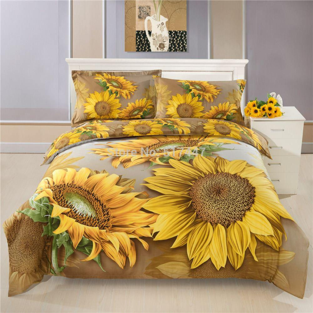 3d Yellow Sunflowers Bedding Sets For King Quee Size 100