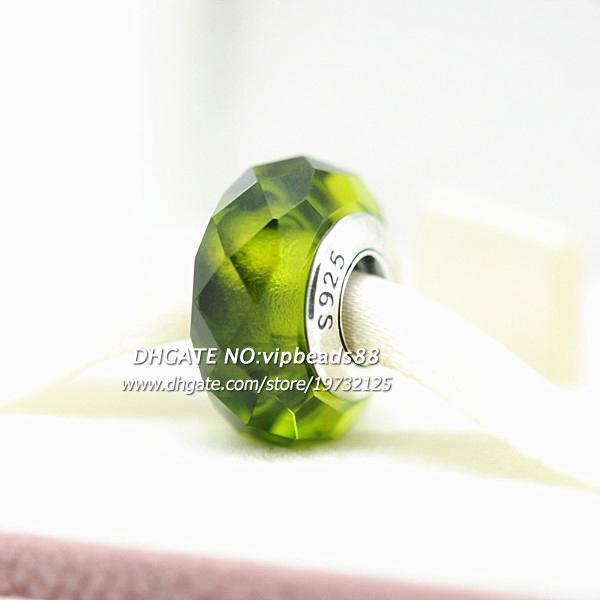 S925 gioielli moda in argento sterling verde erba quattro facce di vetro di murano perline adatto europeo fai da te pandora braccialetti con ciondoli collana