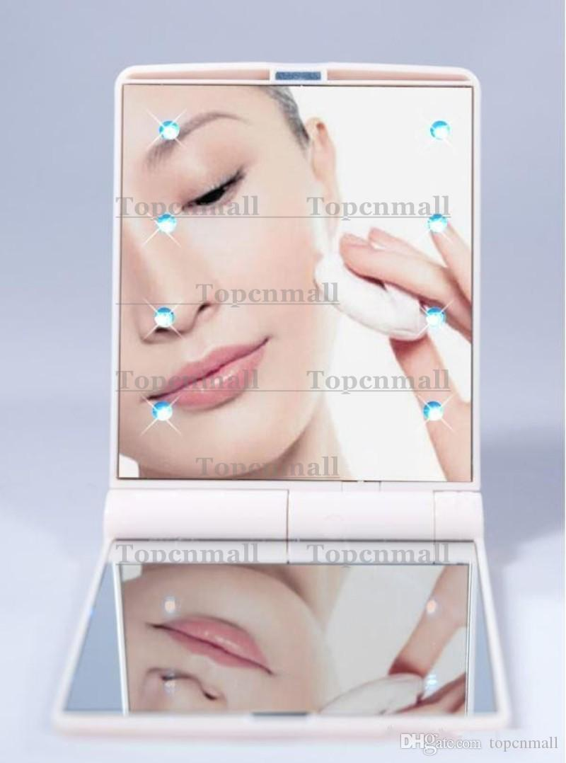 Light Up Mirror 8 Led Cosmetic Make Up Mirror 8Led Mirror Compact Mirror with Led Lights Portable Make Up Tool