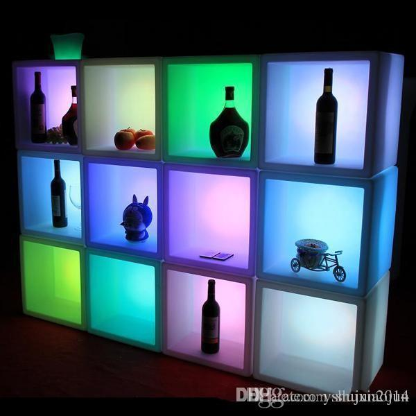Bar Furniture Bar & Wine Cabinets New Led Furniture Waterproof Led Display Case 40cmx40cmx40cm Colorful Changed Rechargeable Cabinet Bar Ktv Disco Party Decoratio Selected Material