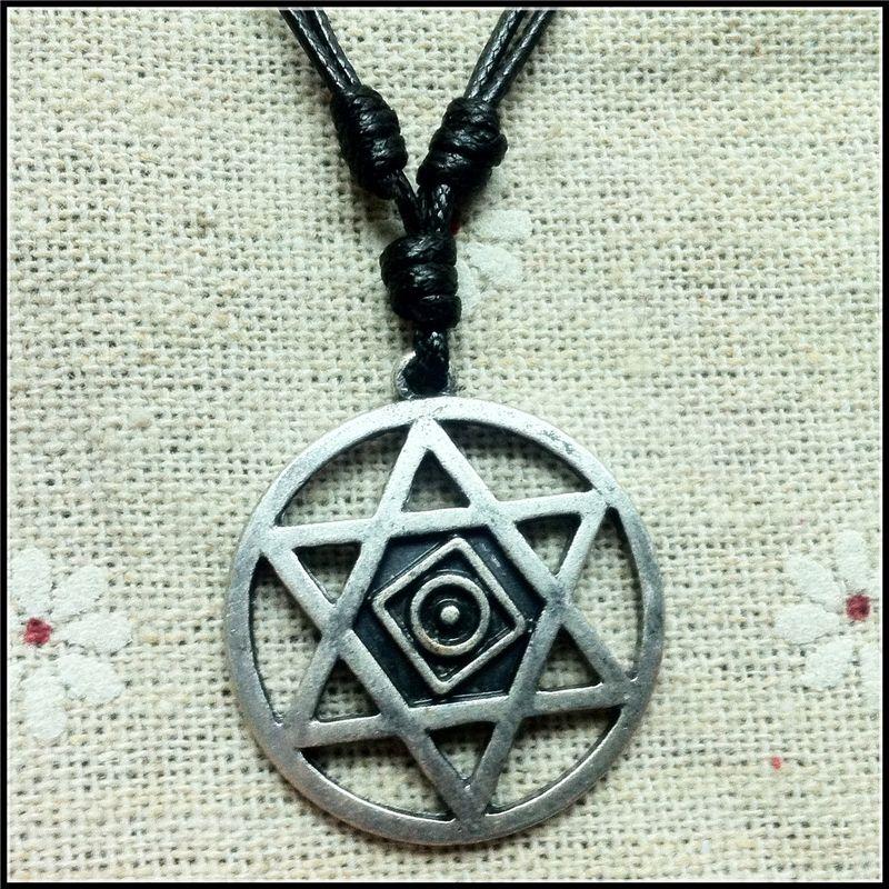 старинные гексаграмма Соломона амулет кулон очарование античное серебряное кольцо снижение гексаграмма волшебное ожерелье Викканский символ колье амулет подарок 1606