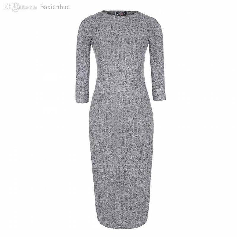 6fc92f46c9ac Al por mayor-Eliacher marca vestido de las mujeres 2016 vestidos ajustados  de invierno más el tamaño Womne ropa Bodycon suéter Midi Slit vestidos ...