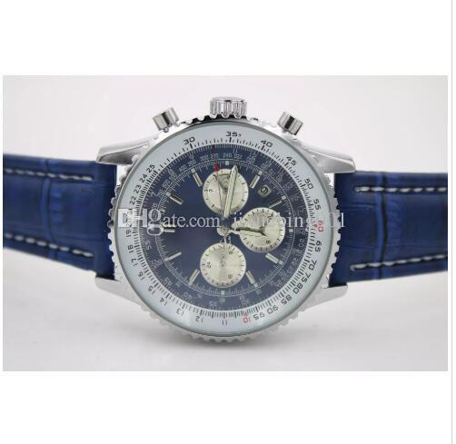 Top Quality New Brand automatic Men's Wristwatch NAVITIMER Ti3 Blue Dial Blue watches Leather 1884 Fashion Male luxury watch free shopping