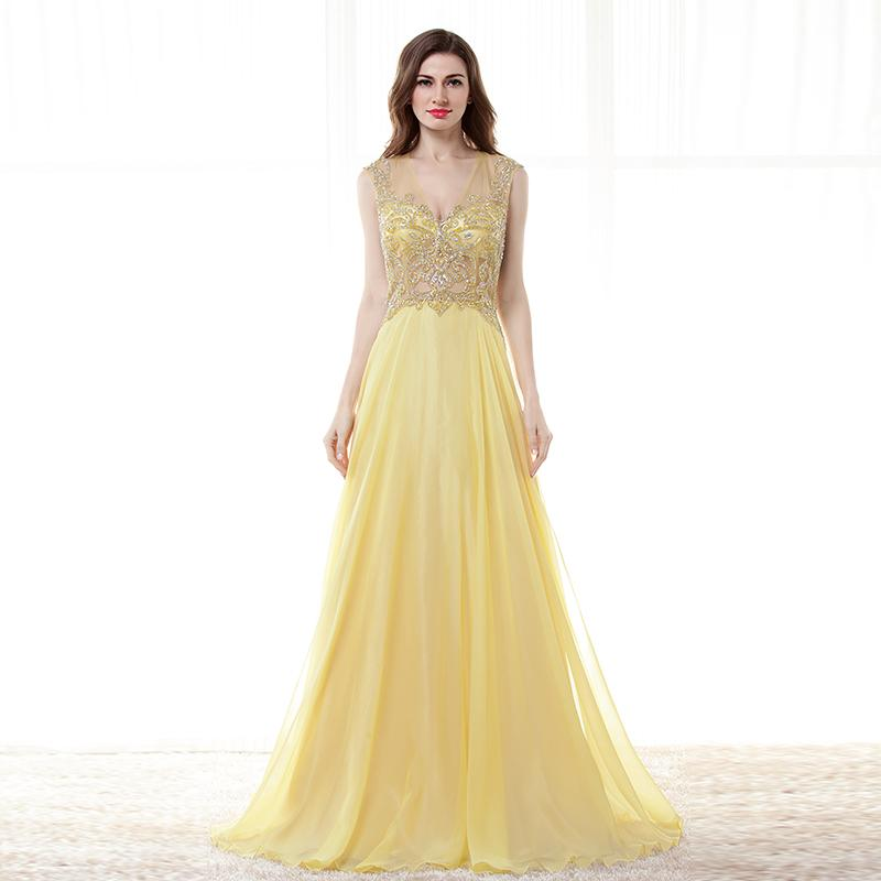 Daffodil Inexpensive Large Size Prom Dresses Tulle Sheer Neck Beaded ...