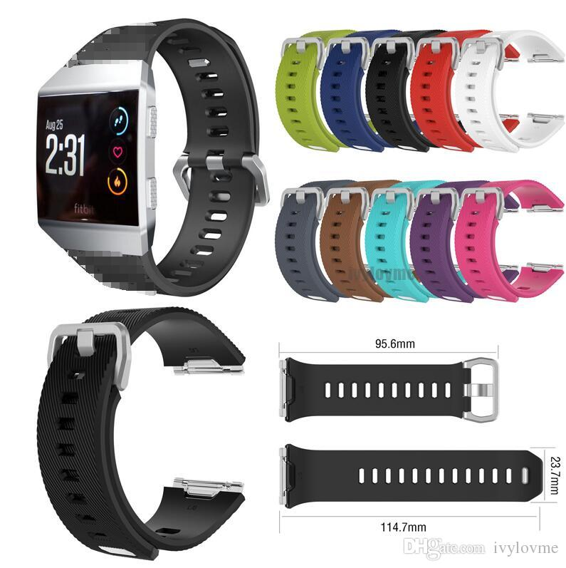 80eea088d Diagonal For Fitbit Ionic Smart Watch Bands Accessories Fitbit Ionic Straps  Silicone Sport Strap With Steel Metal Clasp VS Charge 2 Wrist Watch Straps  ...