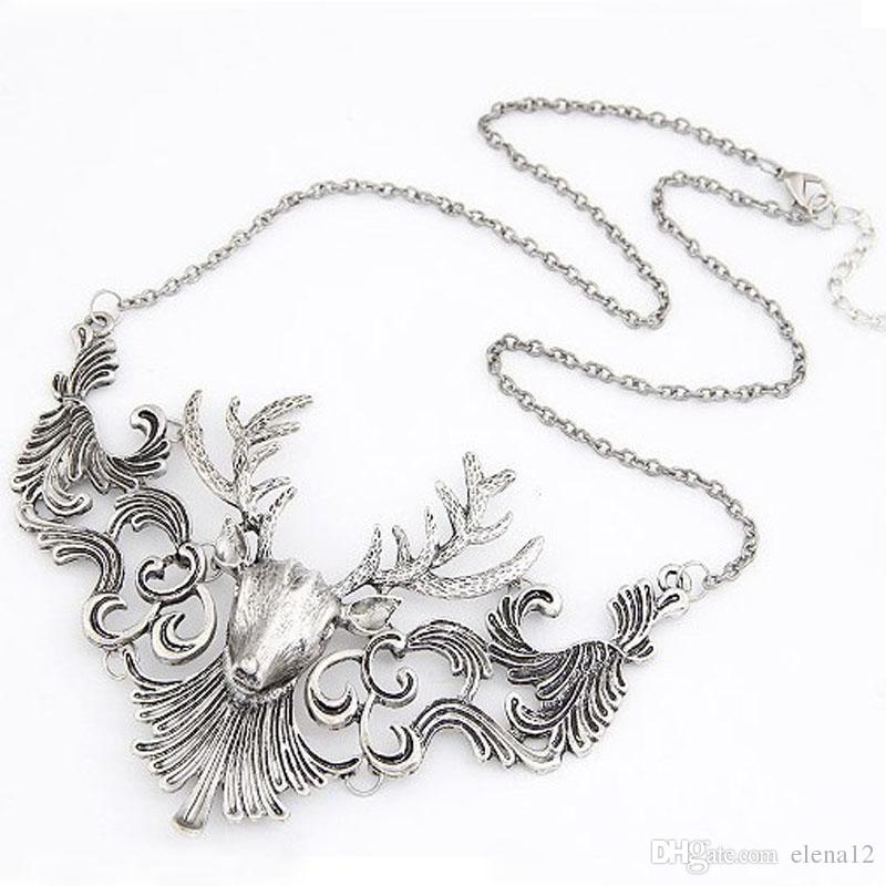 Hueco colgante astas antiguos collares de cadena del encanto del salto de la cadera diseñador de joyas nave de la gota collar de cabeza de ciervo