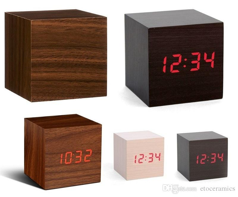 Wood Style Clock Wood Clocks Cube LED Alarm Control Digital Desk Clock Wooden Style Room Time Date Temperature Alarm Function Home Decor
