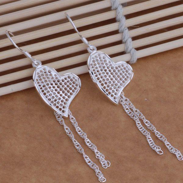Мода производитель ювелирных изделий 40 шт. много пор сердце с кисточкой серьги стерлингового серебра 925 ювелирные изделия заводская цена мода блеск серьги
