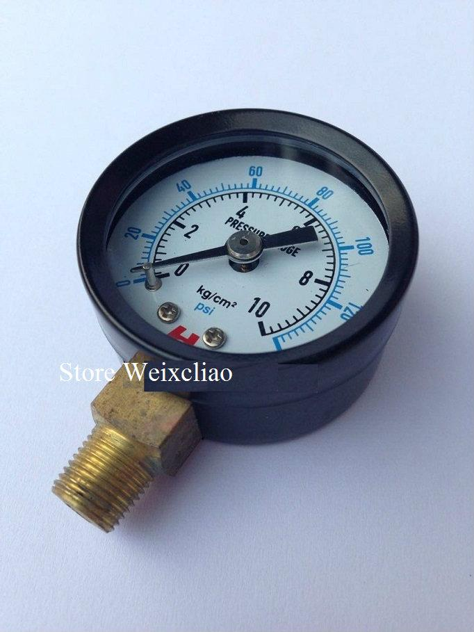 قياس الضغط 0-10 كيلوجرام / 140 psi 1/8PT ل مضخات المياه آلة كهربائية مقياس الضغط المانومتر 1 وحدة 2 قطع شحن مجاني