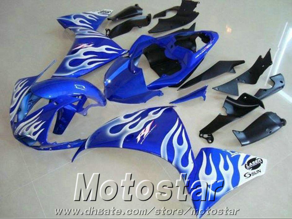 7 free gifts fairing kit for YAMAHA R1 2009-2013 white flames in blue fairings set YZF R1 09 10 11 12 13 HA54