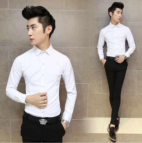 2018 2014 Menu0026#39;S Winter New Korean Fashion Simple Solid Color Casual Shirt Slim Shirt Tide Male ...