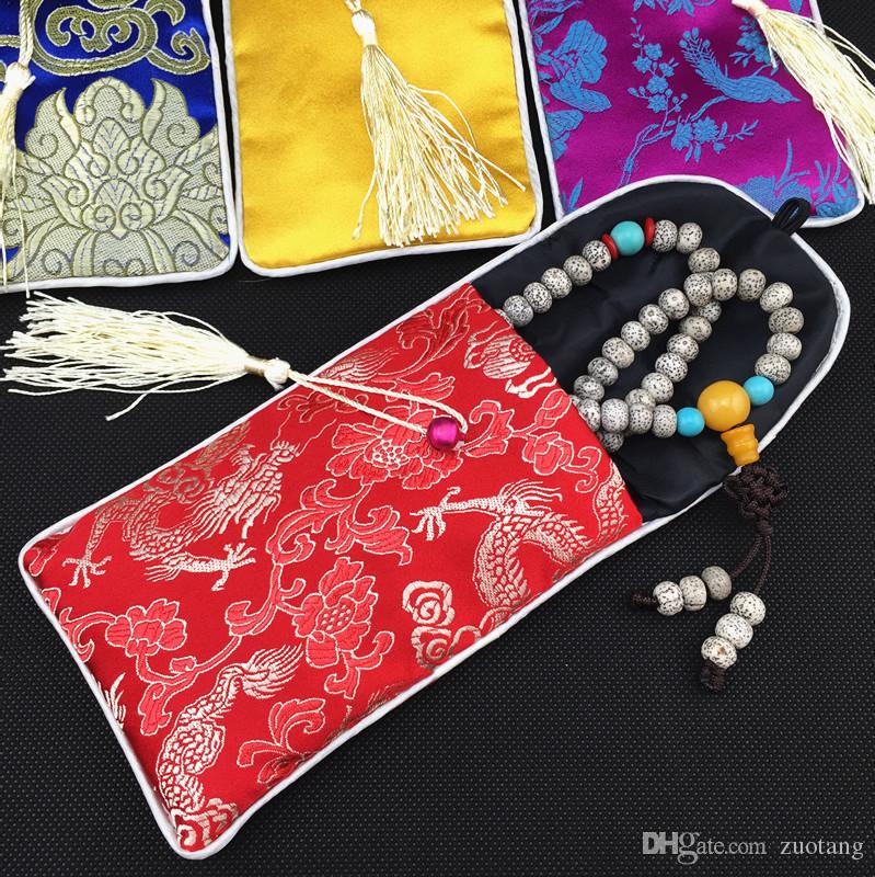 Neck Rope Ladies Universal Cell Phone Bag Cover Glasses Jewelry Pouch Tassel clamshell Chinese Silk Brocade Gift Bag Eyeglass Pouch /lo