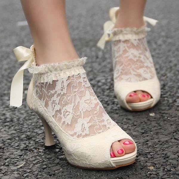 Bridal Bride Wedding Shoes Elegant Lace Ribbon Bridesmaid Court