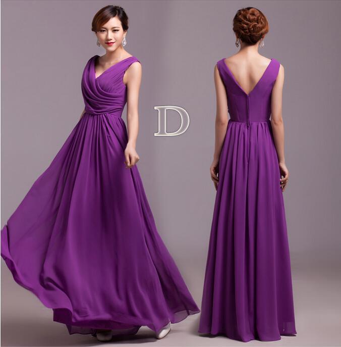 2019 Lila Brautjungfernkleider 6 Styles Enge Falten Elegante Rüschen Chiffon Lange Designer Plus size Bodenlangen Brautjungfern Party Kleider