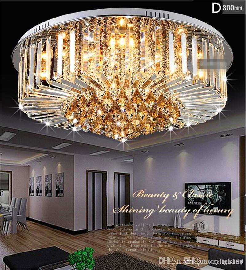 Crystal chandeliers modern simple design high end k9 round chandelier led ceiling chandeliers lighting living room bedroom lighting fixture crystal