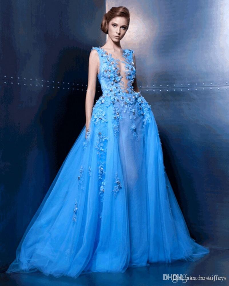 Elie Saab Robes De Bal 2018 Nouvelle Arrivée Sheer Neck Illusion 3D Floral Applique Une Ligne De Tulle Étage Longueur Robes De Mariée Sur Mesure