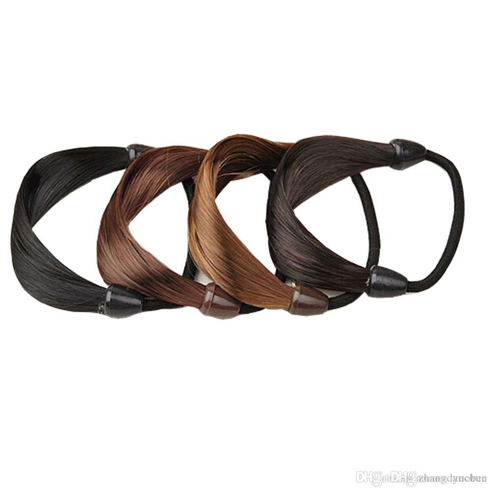 Popular Faux Hair Ponytail Hair Elastic Rope Hair Band Holder Pony Tails  Holder Hair Ties Elastic UK 2019 From Yuobee cb4f40578c0