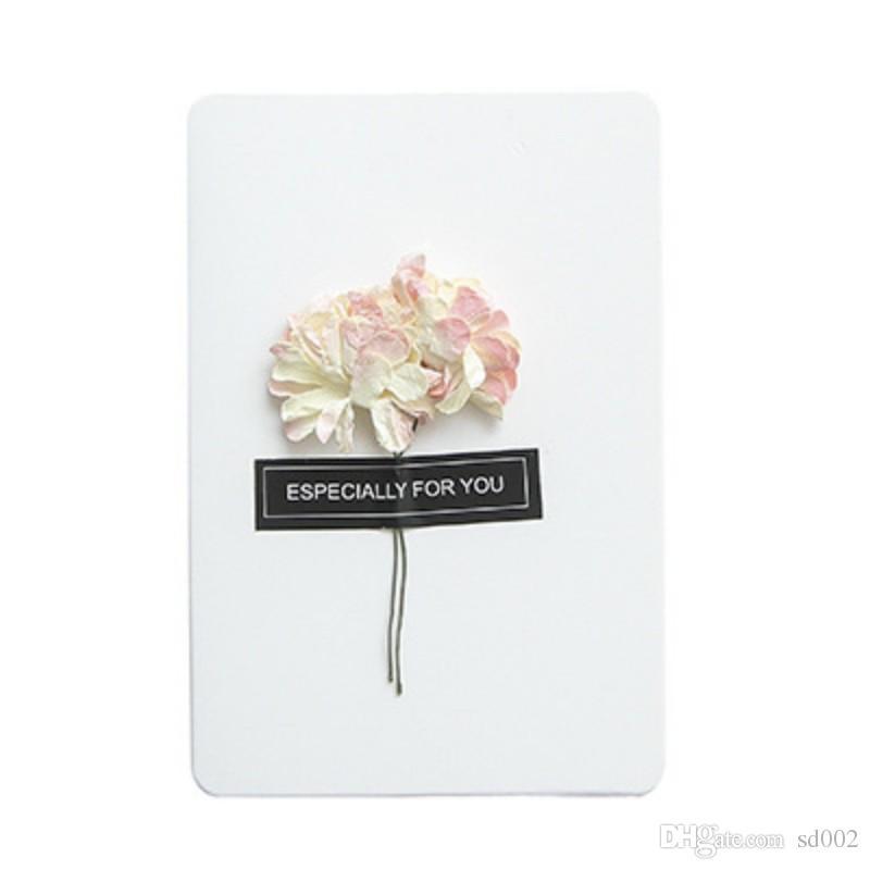 빈티지 크래프트 종이 축복 카드 손으로 시뮬레이션 시뮬레이션 말린 꽃 인사말 카드 크리스마스 결혼 용품 1 15yb B