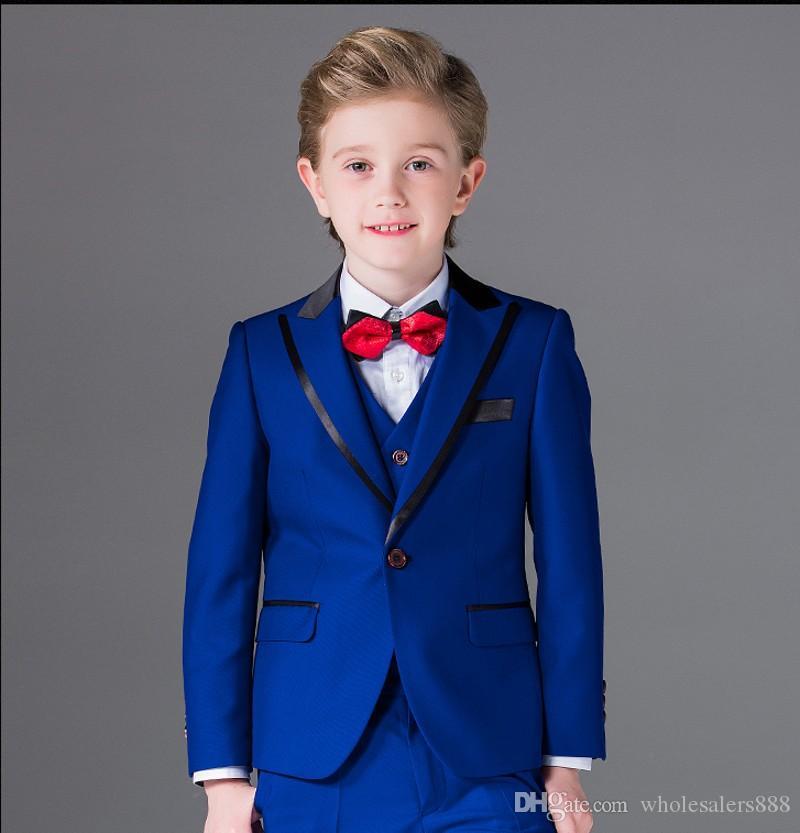1ac6bc7108c One Button Boy Tuxedos Peak Lapel Children Suit Royal Blue Red Black Kid  Wedding Prom Suits (Jacket+Vest+Pants+Bow Tie+Shirt) NH1