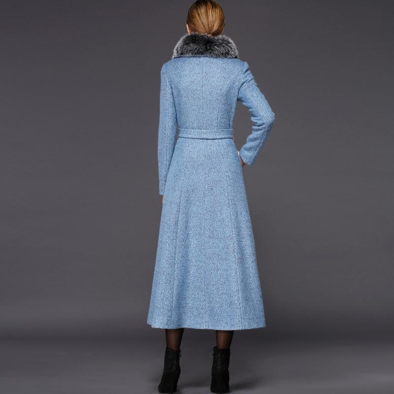 Very 2018 Wholesale Twods Xs 4xl Winter Women Light Blue Wool Coat Fox  UW41