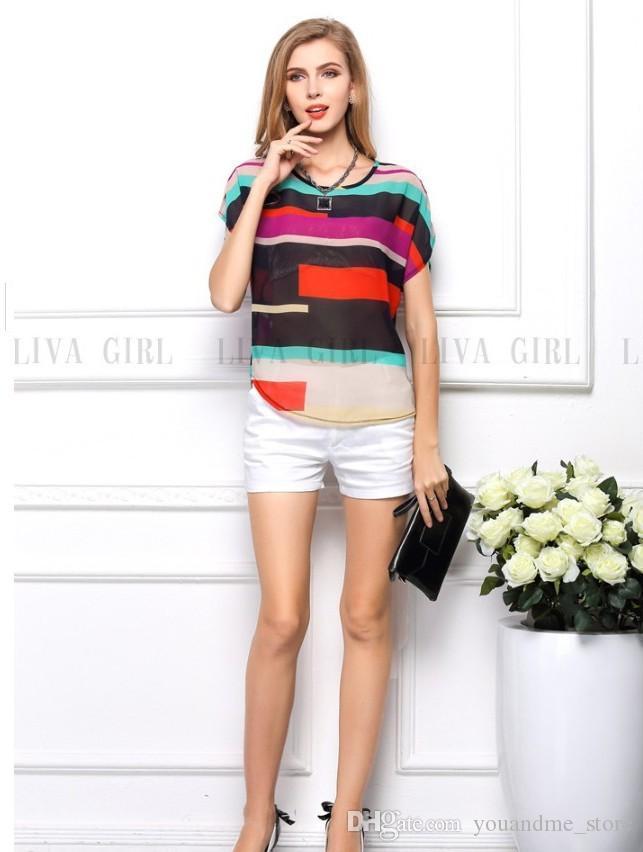 2017 mode Sommer Blusen Frauen Tops Kurzarm Lose Sexy Plus Größe Blusen Farbe Gestreiften Chiffon Shirts Vestidos Casual Shirts B52
