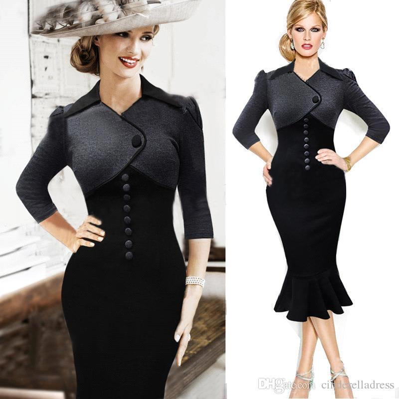 2016 Little Black Dress Work Dresses Vintage Delicate Puff Sleeve ...