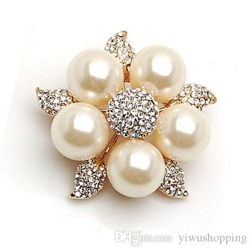 Silver/Gold Plated Clear Rhinestone Crystal Diamante Cream Pearl Star Flower Brooch Pins For Wedding Bouquet
