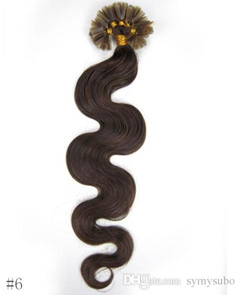 مجموعة متنوعة من الألوان الجميلة Chiese Bonded U TIP Body Wave Extensions 10-30 Inches 6A Virgin Human Hair Extension 100g