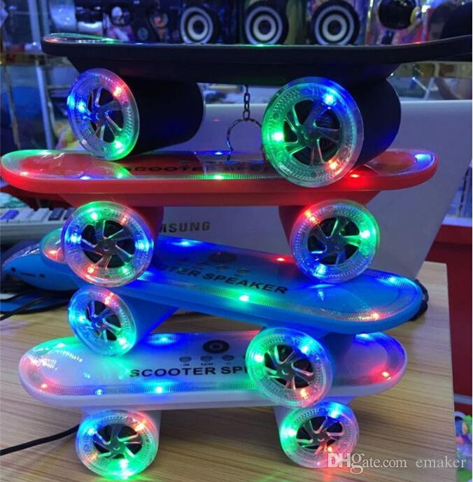 New arrival Skateboard Bluetooth Wireless Speaker Mobile Audio Mini Portable Speakers with Led Light DHL