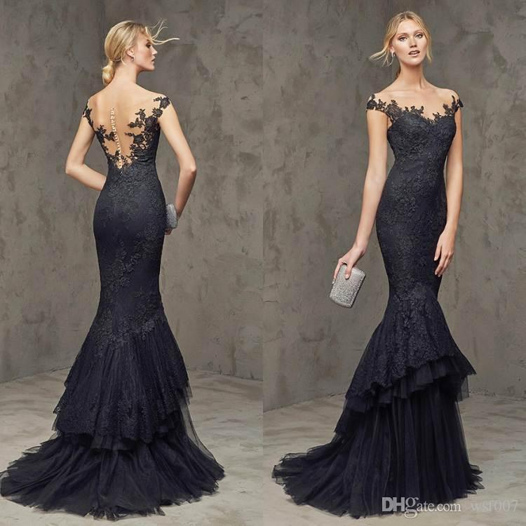 2015 Vintage Lace Formal Dresses Evening Wear Black Long Celebrity ...