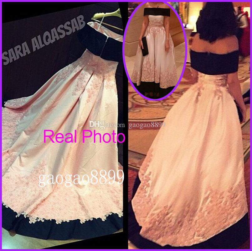 Vinatage Off Shoulder Formal Occasion Evening Dresses Real Photos Lace Appliques Plus Size Bridal Celebrity Prom Party Gowns 2019 Arabic