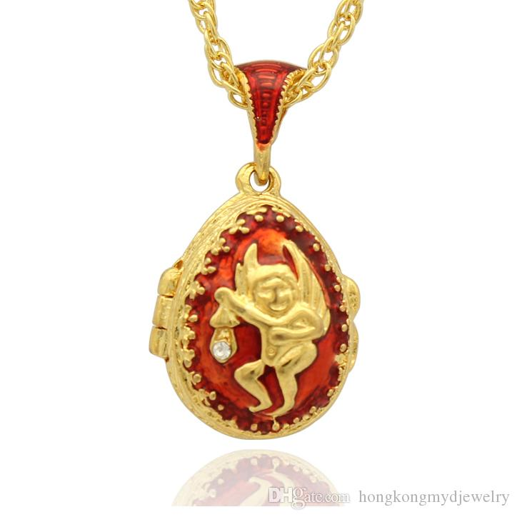 Wholesale red enamel angel faberge egg pendant locket easter egg for wholesale red enamel angel faberge egg pendant locket easter egg for russian style necklace with crystal and gold plated chain silver jewellery online aloadofball Choice Image