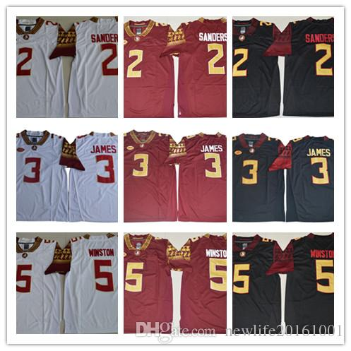 sale retailer 80f43 45051 Mens Florida State Seminoles College Football Jerseys Cam Akers #3 Derwin  James #12 Deondre Francois #5 Winston Black Red White Jersey S-3XL