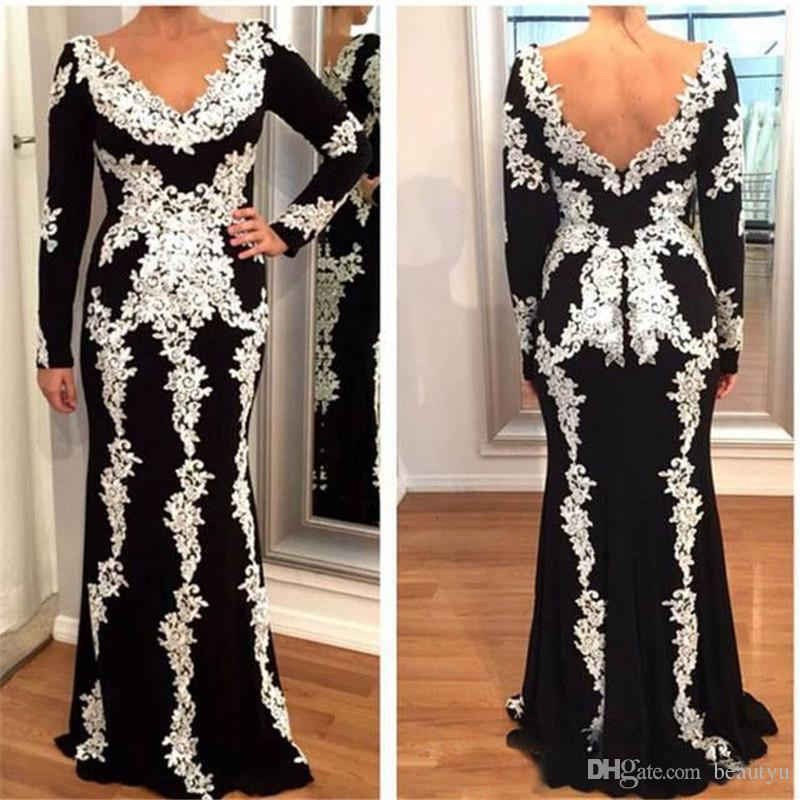 Black White Lace Long Sleeve Mother Of The Bride Dresses Plus Size V