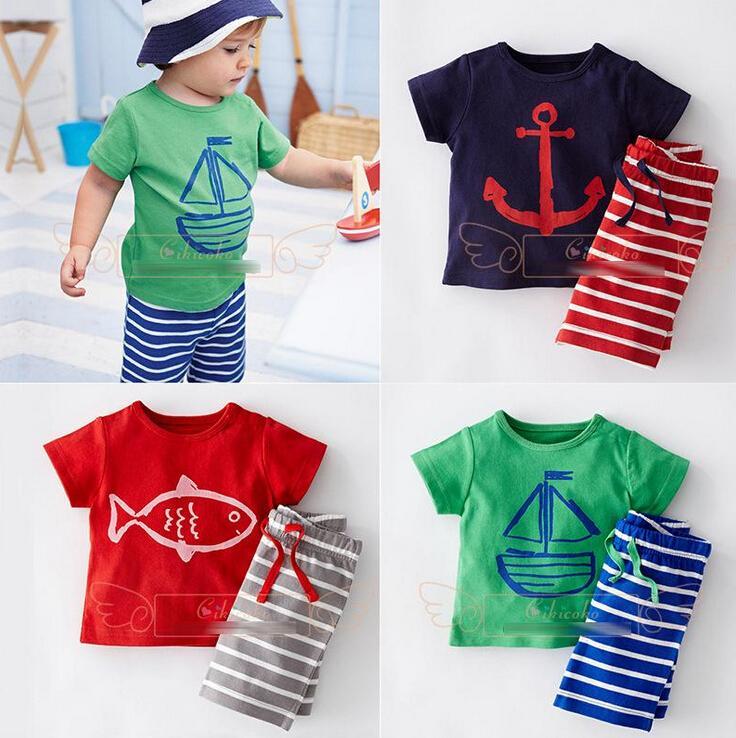 Babykleding jongens cartoon gestreepte casual pakken 2 stks zeilboot sets t-shirt + broek jongens outfits trainingspakken kinderen kleding 3 kleuren RK76338