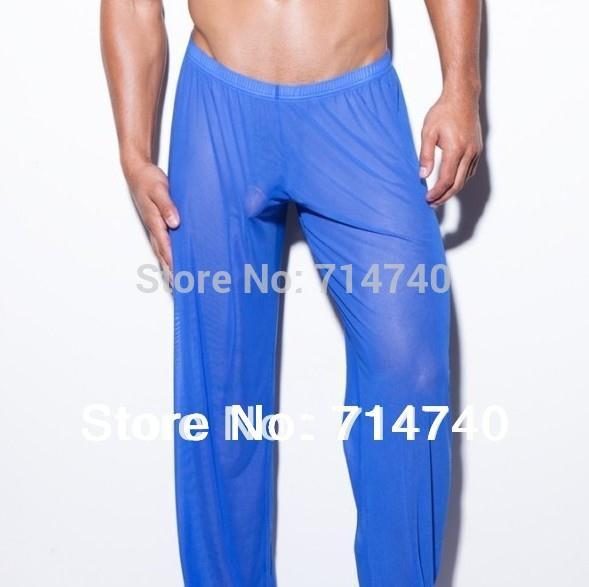Sexy Gay Male Trousers Sleepwear Transparent Bottoms Compression Casual Yoga Mesh Lounge Gauze Sheer See Through Gym Long Pants Gauze Beachwear Pants Girls