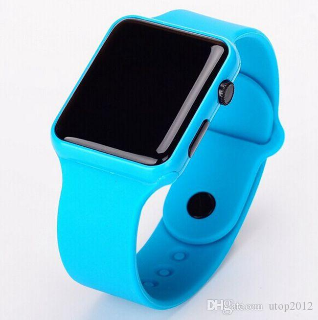 Heiße neue quadratische Spiegel-Gesichts-Silikon-Band-LED Digitaluhr-rote LED passt Quarz-Armbanduhr-Sport-Stunden auf