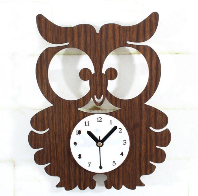 clock cartoon iran cute cartoon animated kids wall clock owl for home decoration