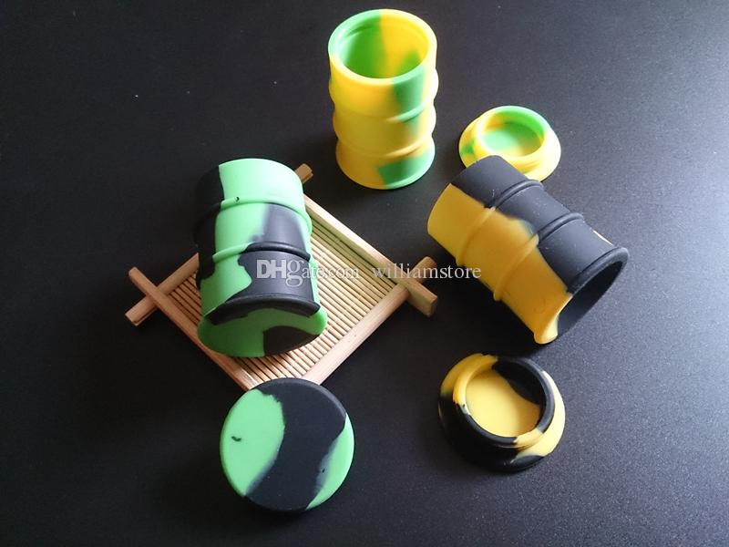 silicone oil barrel container jars dab wax vaporizer oil rubber drum shape container 26ml large food grade silicon dry herb