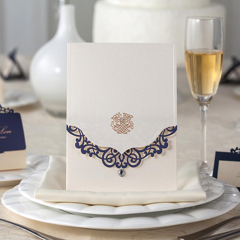 gorgeous laser cut royal blue and pearl white with diamond wedding invitation card hollow flower free customized print text text cw502 - Royal Wedding Invitation