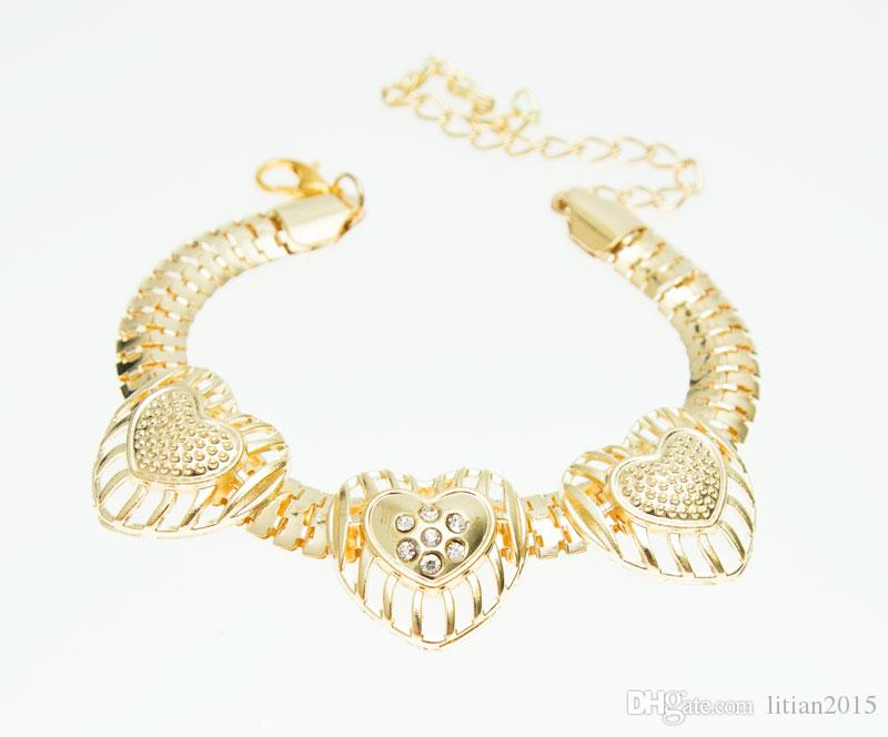 Hot Selling Gold Plated Heart Shape Jewelry Set Fashion Crystal Wedding Bridal Costume Jewelry Ses
