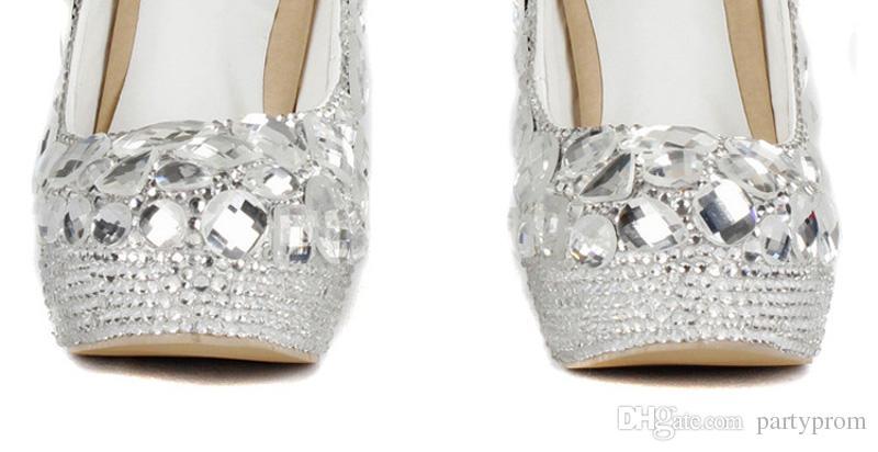 Zapatos de noche de lujo Zapatos de plataforma de cristal plateado Vestido de fiesta Zapatos de fiesta de tacón alto Handmad Rhinestone Diamante Prom